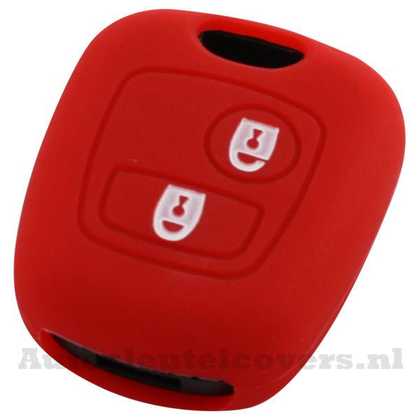 Peugeot en Citroën 2-knop sleutelbehuizing rood