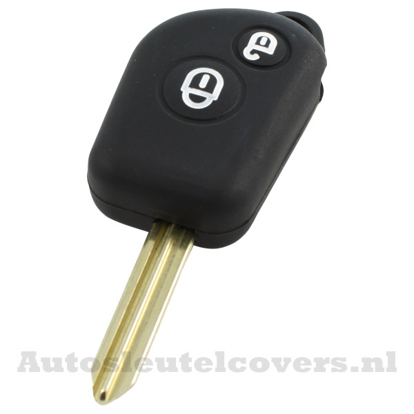 Peugeot en Citroën 2-knop sleutelbehuizing zwart