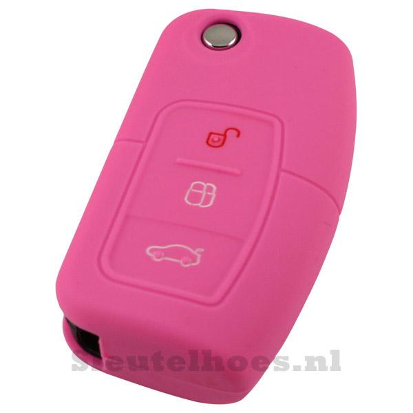 Ford 3-knops klapsleutel sleutelcover – roze (model 2)